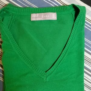 Zara green v neck sweater